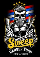 Small sweep barber shop logo