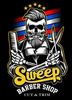 Thumb sweep barber shop logo